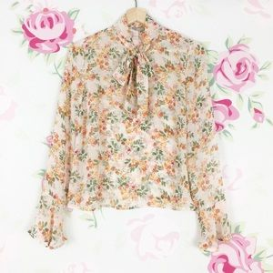 Forever 21 Printed Floral Cream Peach Bow Blouse S